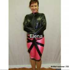 Latex straight jacket with 3 straps - art.nr-155