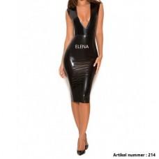 Black deep v latex dress -art.nr.214