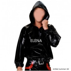 latex jacket with hood and open zipper - art.nr-60