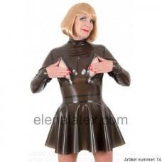 latex black transparent dress with 3 zippers - art.nr-74