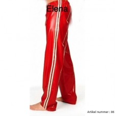 Latex red pants with colored stripes -art.nr.86