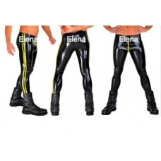 Latex men's pants with colored stripes and with cross zipper - art.nr- 90
