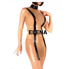 Transparent With Black Sexy Latex Dress -art.nr- 256