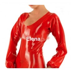 Long latex rond neck  top with zipper  -Art.nr. 304